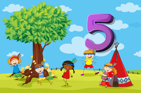 numbers set: Flashcard number 5 with five children in the park illustration Illustration