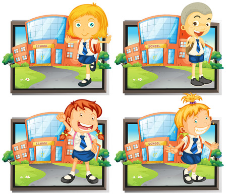 picture frame: Four students in uniform at school illustration