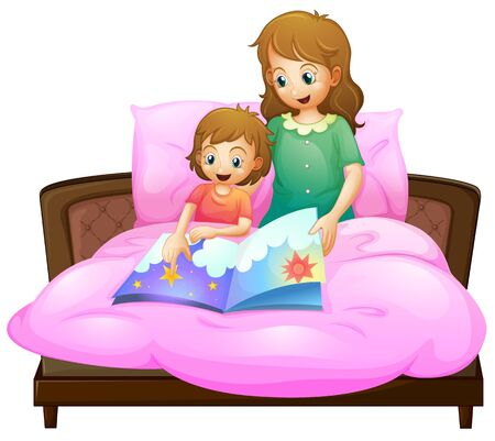 Mother telling bedtime story to kid in bed illustration Vector Illustration