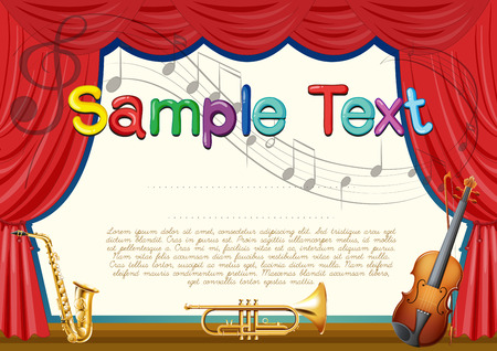 certification: Certification template with musical instrument background illustration