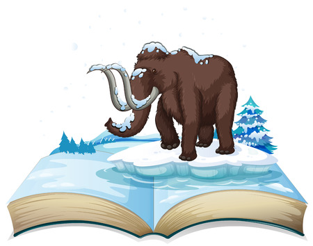 mammoth: Book of mammoth on iceberg illustration