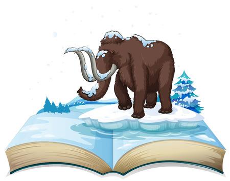 Livre de mammouth sur l'illustration iceberg