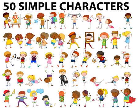 Fifty simple characters doing different activities illustration Reklamní fotografie - 51855914