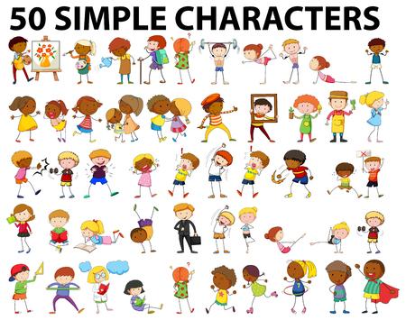 Vijftig eenvoudige personages doen verschillende activiteiten illustratie