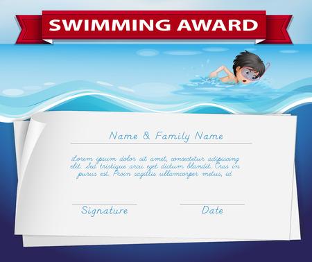 reconocimientos: Plantilla de certificado para la ilustración de Premio de la natación Vectores