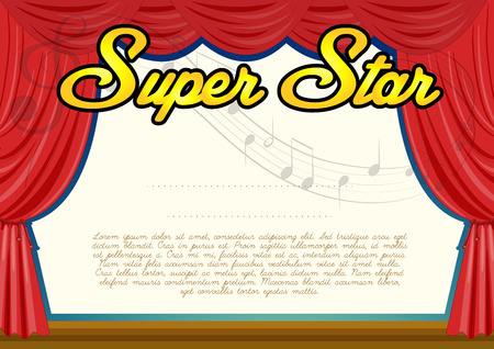 super star: Certification template for super star illustration
