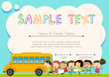 school picture: Certificate design with children and schoolbus illustration