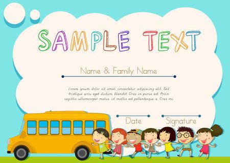 school illustration: Certificate design with children and schoolbus illustration