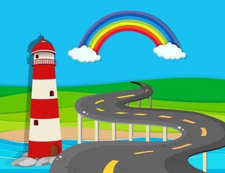 rainbow bridge: Nature scene with lighthouse and road illustration