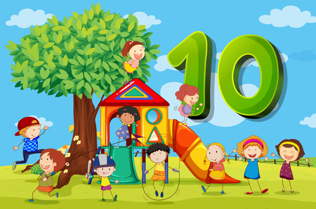 Flashcard number 10 with ten children in the park illustration Illustration