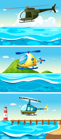 the hovercraft: Helicopter flying over the ocean illustration