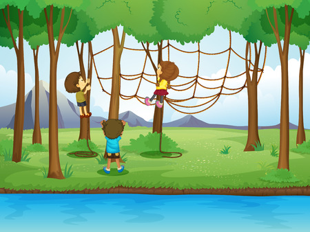 climbing: Children climbing rope in the forest illustration