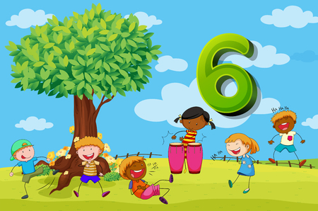 number six: Flashcard number 6 with six children in the park illustration