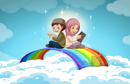 child praying: Two muslim reading books over the rainbow illustration