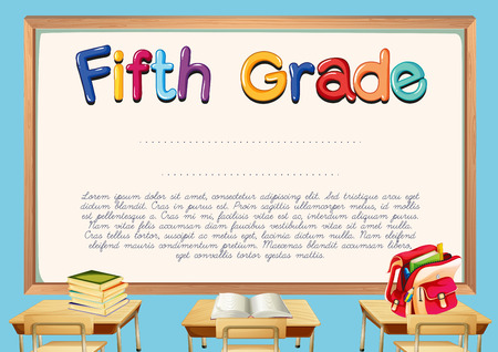 fifth: Diploma template for fifth grade students illustration