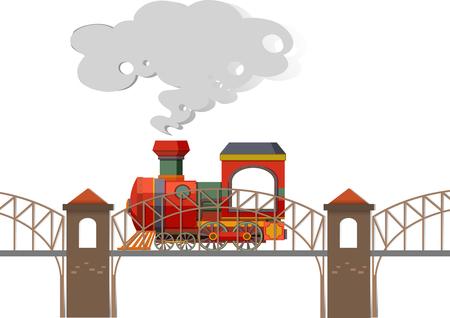 railroad: Train riding over the bridge illustration