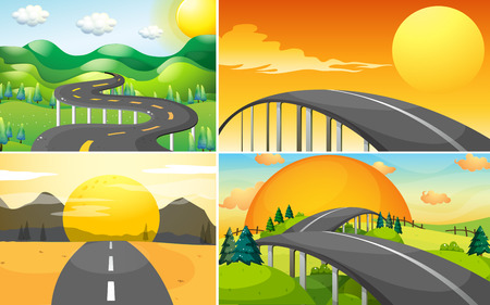 desert road: Four scenes of road to the countryside illustration