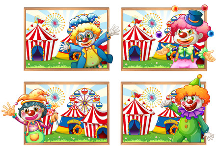 amusement park rides: Four photo frame of clowns at the circus illustration Illustration