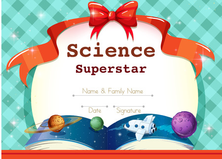 honour: Certificate template with science theme illustration