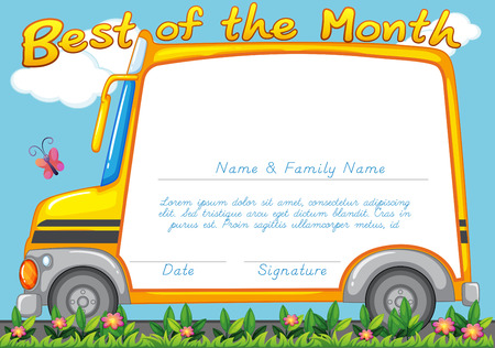 school picture: Certificate design with school bus background illustration