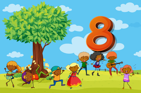 numbers clipart: Flashcard number 8 with eight children in the park illustration
