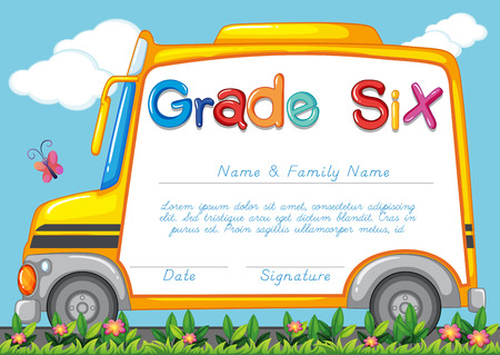 school picture: Diploma template for students grade six illustration