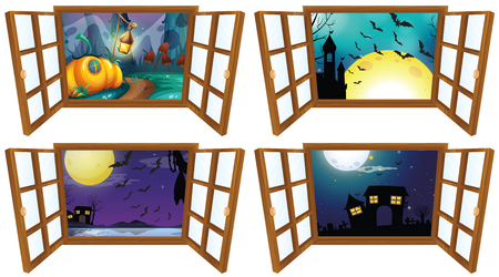 house  houses: Halloween night from the window  illustration