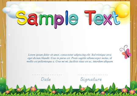 certify: Certificate template with butterfly in the garden illustration