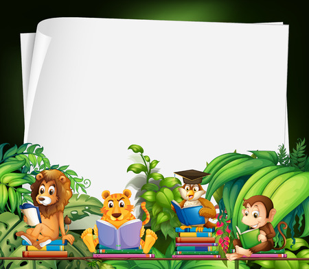 animal in the wild: Border design with wild animals reading books illustration
