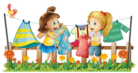 two girls: Two girls drying their clothes illustration
