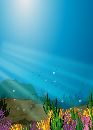 bubble background: Nature scene under the sea with coral reef illustration Illustration