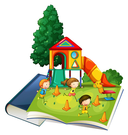 slide: Giant book with children playing at playground illustration