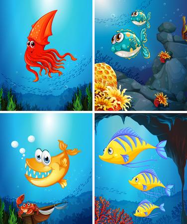 carnivorous fish: Sea animals living under the ocean illustration