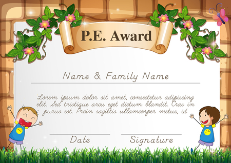 physical education: Certification template for physical education subject illustration
