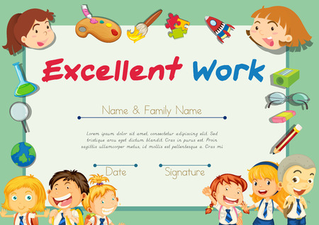 excellent work: Certification template for students with excellent work illustration