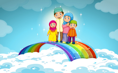 family man: Muslim family standing on the rainbow illustration