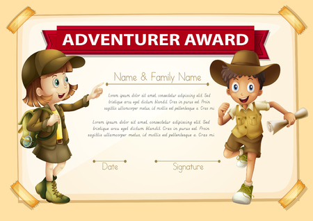 two children: Adventure award with two children background illustration Illustration