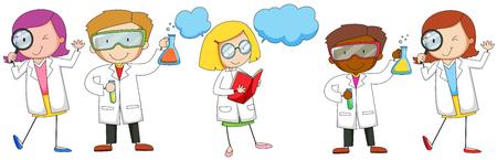 experimento: Los científicos de sexo masculino y sexo femenino que hace la ilustración experimento