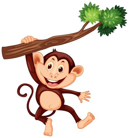 Lindo mono colgando de la rama de la ilustración Ilustración de vector