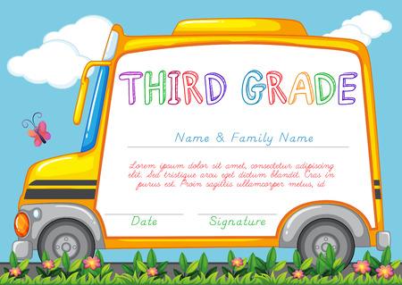 Certificering template voor het derde leerjaar studenten illustratie
