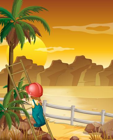 climbing up: Girl climbing up the palm tree illustration Illustration