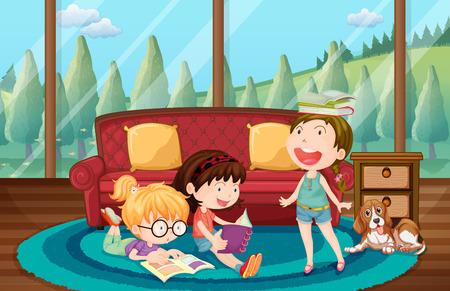 hobby: Three girls reading book in the living room illustration Illustration