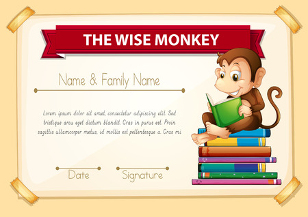 certification: Certification template with monkey reading books illustration Illustration