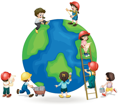 children painting: Children fixing and painting the globe illustration