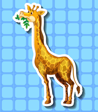 long neck: Cute giraffe chewing the leaves illustration