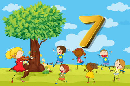 numbers counting: Flashcard number 7 with seven children in the park illustration