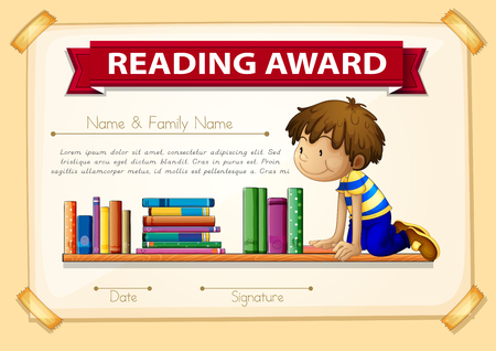 certification: Certification template with boy and books illustration