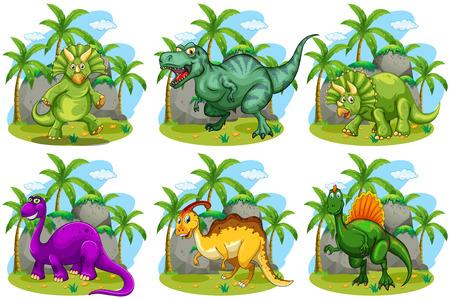animals in the wild: Six dinosaurs in the forest illustration