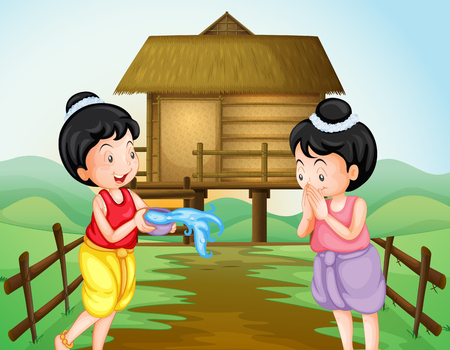 Two thai girls on water festival day illustration