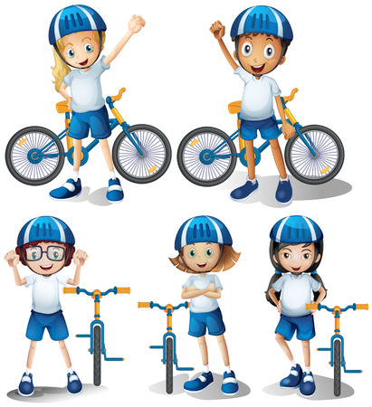 Jungen und Mädchen Fahrrad Illustration Reiten